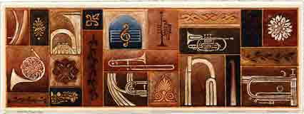 heavenly brass, music art and musical instruments art, music gifts and musical instruments gifts, music prints and musical instruments prints, music paintings and musical instruments paintings by artists Jane Billman and Gregg Billman