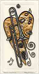 trombone, music art and musical instruments art, music gifts and musical instruments gifts, music prints and musical instruments prints, music paintings and musical instruments paintings by artists Jane Billman and Gregg Billman